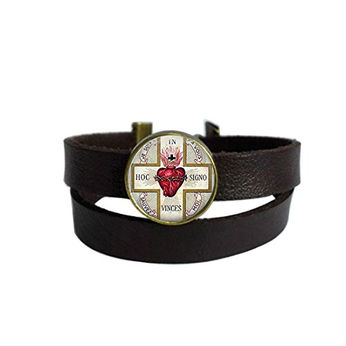 LAROK WAZZIT Two Layers Design Dark Brown Leather Cuff Bangle Sacred Heart Tag Sacre Coeur Flaming Heart Jesus Christ Religious Rope Wristband Bracelet with Glass - Designs Heart Sacred