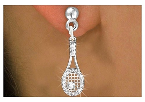 Silver Tone Earrings in Surgical Steel Post with Genuine Austrian Crystal Covered Tennis Racquet Charm (Steel Tennis Posts)