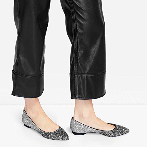 WYYY Planos Sandalias EU36 Gradiente Zapatos Playa De Fiesta Zapatos Casuales Tamaño Talón UK4 Mujer Apuntado Bloque De Temporada Verano Zapatos De Bajo Lentejuelas Silver rBvZrH