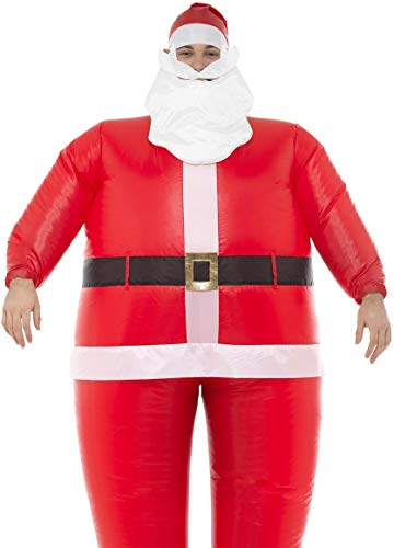 Mens Ladies Inflatable Santa Claus Father Christmas Xmas Festive Fun Fancy Dress Costume Outfit]()