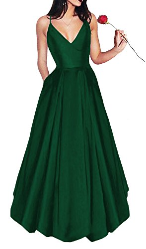 Yangprom Long Spaghetti Straps V-Neck Satin A-line Prom Dress with Pockets (16, Green) (Best Long Gown 2019)