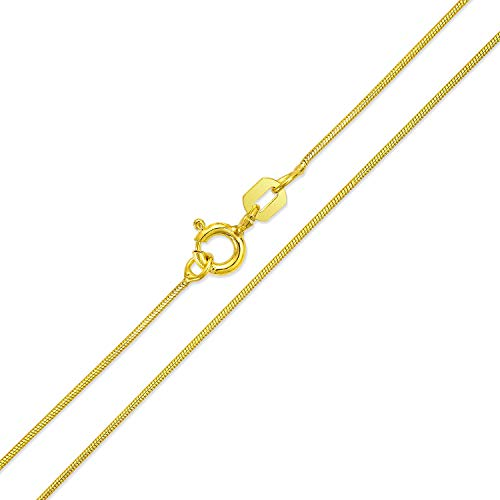 Thin Snake Link Chain 1 MM 010 Gauge For Women Necklace 14K Gold Plated 925 Sterling Silver Made In Italy 24 Inch
