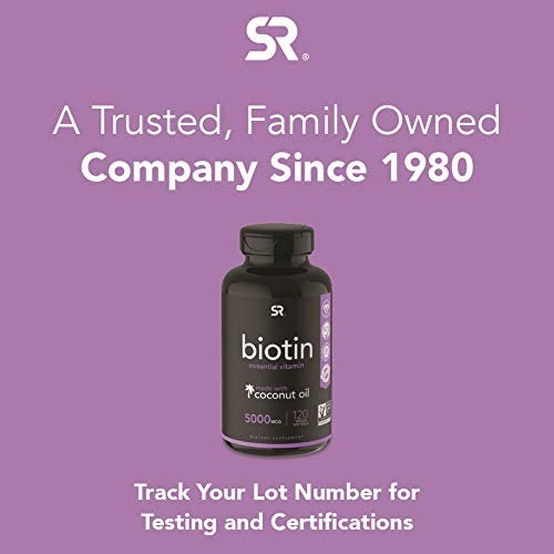 Biotin (5,000mcg) with Organic Coconut Oil | Supports Healthy Hair, Skin & Nails in Biotin deficient Individuals | Non-GMO Verified & Vegan Certified (120 Veggie-Softgels) 7