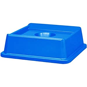 Rubbermaid Commercial Untouchable Bottle and Can Recycling Top, Square, 20-1/8-Inch Width x 20-1/8-Inch Depth x 6-1/4-Inch Height, Blue (FG279100DBLUE)