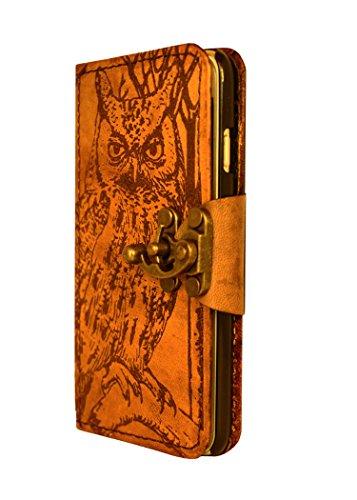 """A Little Present """", handgemacht, Vintage-Stil, Eulen-Dekoration"""" Leder-Klappetui (mit Schloss für iPhone 6, Braun"""