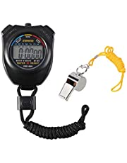 Vicloon Digital Sport Stoppuhr Timer mit Edelstahl Pfeife, große LCD-Display geeignet für Fußball, Basketball, Laufen, Schwimmen, Fitness und Mehr