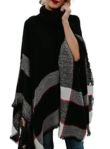 HZSONNE Women's Speckled Fringe Cardigan Tassel Asymmetrical Hem Shawl Heap Collar Casual Sweater Poncho (Poncho Turtleneck)