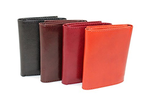 amp; Italian Orange Vertical Wallet RFID Black Pockets amp; Leather Handcrafted w Lined Zenyetti TriFold 6xq5wgw7