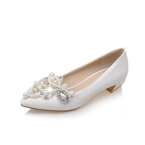 AmoonyFashion Womens Pull-on Low-heels PU Solid Pointed Closed Toe Pumps-Shoes White Sx1GRTVLz