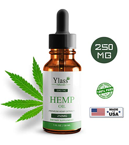 Hemp Oil for Pain Relief – 250mg Natural Organic Hemp Seed Full Spectrum Extract – Stress Relief, Anti Anxiety, Sleep Supplements – Herbal Drops – Rich in MCT Fatty Acids (30ML-250MG)
