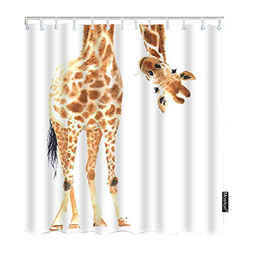 Moslion Giraffe Bathroom Shower Curtain Wild Animal Watercolor Giraffe Brow White Feather Shower Curtains Home Decorative Waterproof Polyester Fabric Shower Curtain with Hooks 72x72 Inch