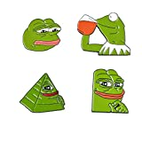 GYAYU Pepe Frog HardLapel pin Brooch Kermit Enamel Pin Kermit Sipping Tea Hat Pin Internet Meme 4 Pieces