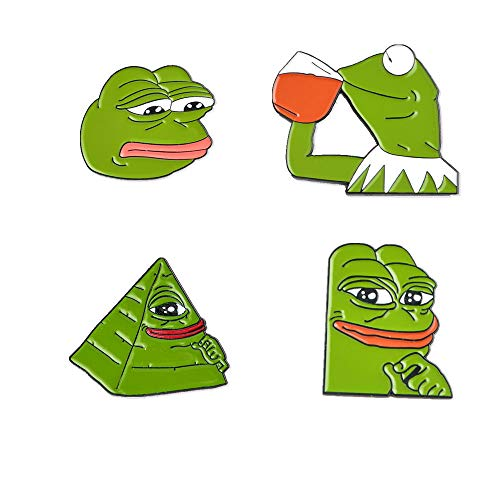 - GYAYU Pepe Frog HardLapel pin Brooch Kermit Enamel Pin Kermit Sipping Tea Hat Pin Internet Meme 4 Pieces