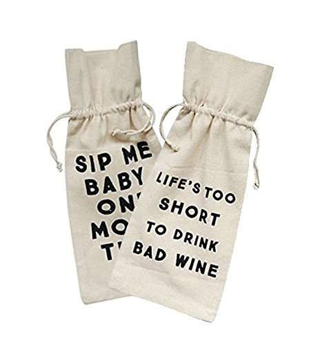 Humorous Drinking Drawstring Wine Bags - Set of 2 (Life's Too Short and Sip Me)
