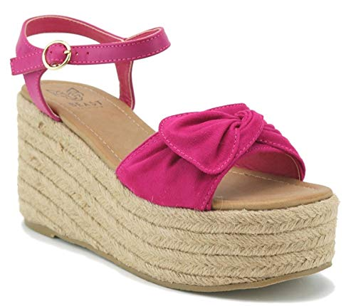 Beast Fashion Nell-01 Suede Bow Open Toe Espadrille Platform Wedge Sandal (8.5, Fuschia)