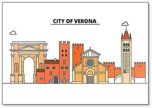 Aimant de r/éfrig/érateur classique avec illustration minimaliste de la ville de V/érone