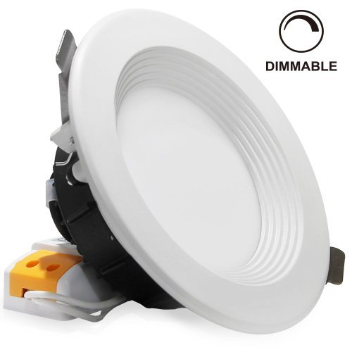 "4"" Dimmable LED Retrofit Recessed Light, Slim Remodel LED Downlight with Reflector trim, 12W (90W Halogen Equiv.), 800lm, Frosted Glass Lens Ceiling Light, 6000K Daylight"