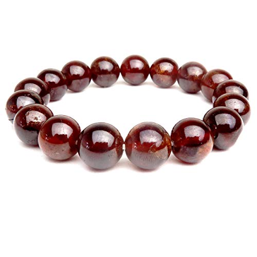 (Garnet Hessonite Bracelet 10mm Boutique Stretch Deep Orange Red Round Crystal Healing Handmade Gem B01 (7