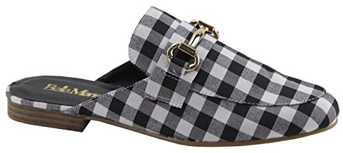 Bella Marie Gemma-42 Women Flats Loafer Slip On Slides Mules Horsebit Plaid Check Gingham Black (Gingham Flat)
