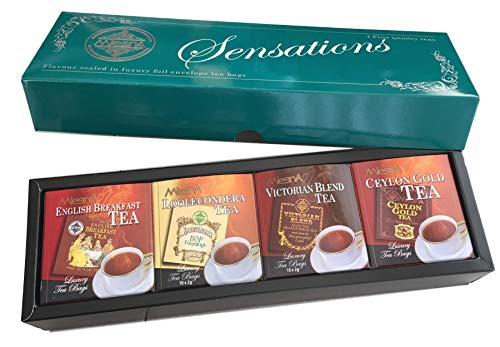 Mlesna Sensations Black Pure Ceylon Tea Foil-Wrapped Envelop Four Assorted Tea Collection - English Breakfast, Looleconderea, Victorian Blend, Ceylon Gold Luxury Pack Gift Box Ozone Friendly Tea