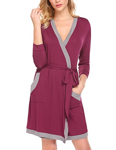 Hotouch Women Short Kimono Bathrobe Lounge Spa Bath Robes Hotel Short Sleepwear Loungewear