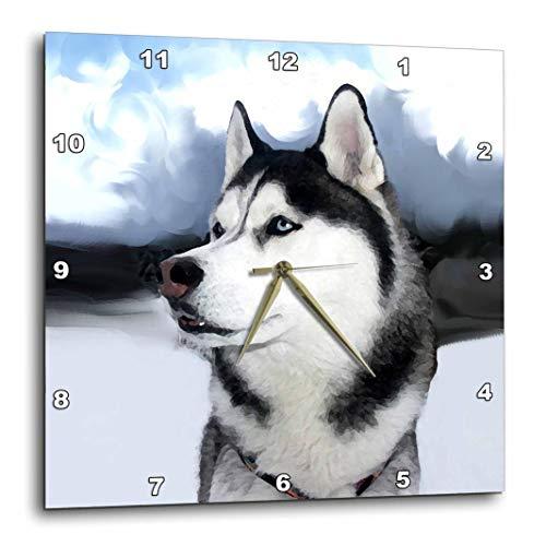 (3dRose DPP_4438_1 Siberian Husky-Wall Clock, 10 by)