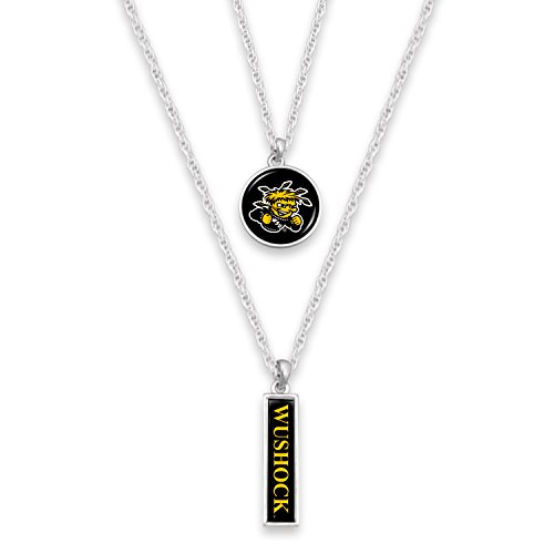 Logo Charm Large - FTH Wichita State Shockers Silver Tone Double Charm Necklace with Logo and Nameplate Charms