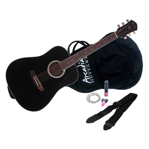 Arcadia DL38BK PAK 38″ 3/4 size Dreadnaught Acoustic Guitar Pack, Spruce with Black Finish
