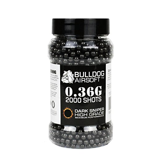 Bulldog 0.36g 2000 Dark Sniper Airsoft BB Pellets Black