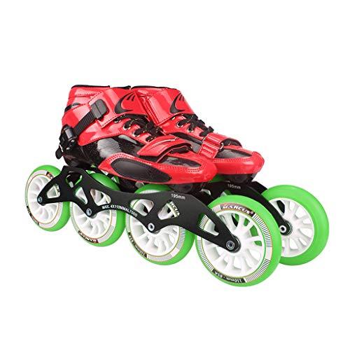 ドールニュースダイヤモンドLIUXUEPING ローラースケート、 プロのスピードスケートシューズ、   大人の子供たちのスケート、   インラインスケート、 ビッグホイールレーシングシューズ (色 : Green, サイズ さいず : 43)