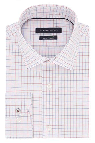 Tommy Hilfiger Men's Dress Shirts Non Iron Slim Fit Check, Red Multi, 16
