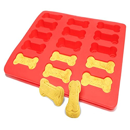 Ticent Mini Bones Silicone Cake Pan, Dog Treat Baking Mold for Kids, Dog Lover, Pets, 12x10 Inch