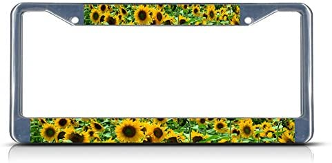 Fastasticdeals Sunflower Flowers License Plate Frame Tag Holder Cover