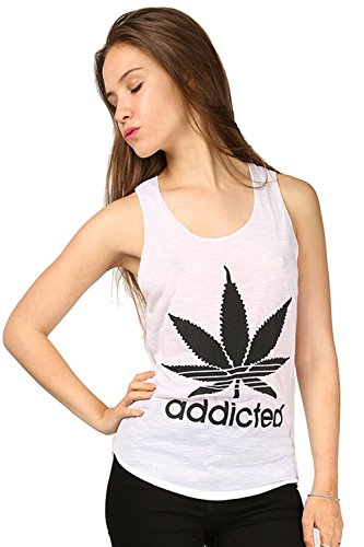 Oops Outlet Women's Burnout Racer Back Addicted Cannabis Leaf Vest Top T shirt