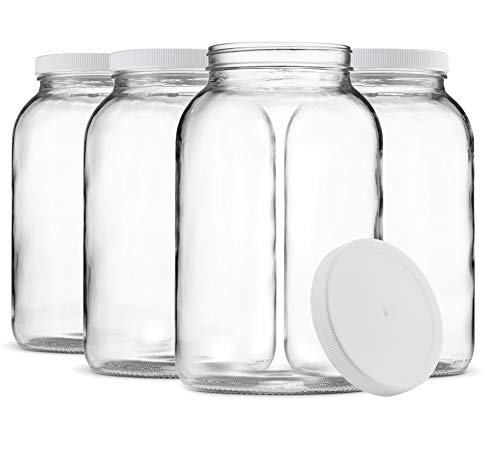 (Paksh Novelty 1-Gallon Glass Jar Wide Mouth with Airtight Plastic Lid - USDA Approved BPA-Free Dishwasher Safe Mason Jar for Fermenting, Kombucha, Kefir, Storing and Canning Uses, Clear (4 Pack))