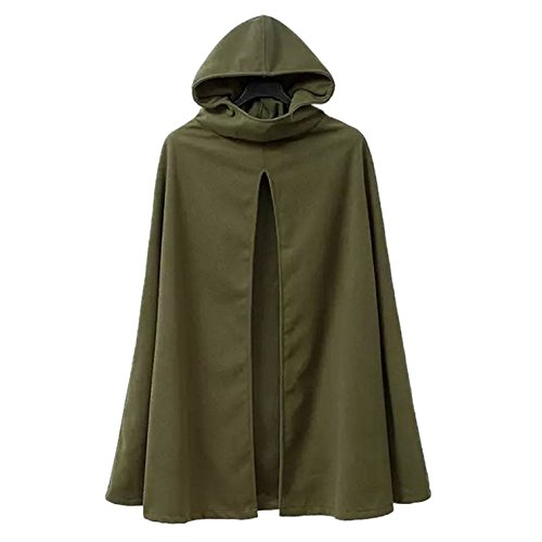 (Your Gallery Women's Casual Hooded Split Front Poncho Cape Cloak Trench Outwear Coat,Army Green )