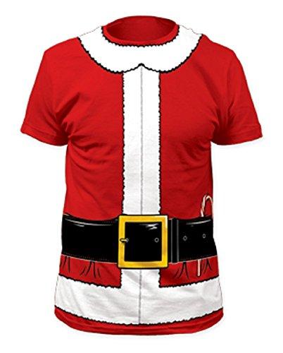 [Impact Originals Santa Claus Mens Red Costume T-shirt (Medium, Red)] (Quick Costumes For Guys With Beards)