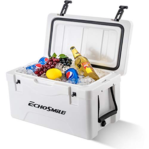 EchoSmile 30 Quart Ice Chest Rotomolded Cooler, Portable Beach Cooler with Durable Handles, Ice Cooler for Dry Ice, Great Gift for Outdoor Golf, Camping, Picnic, Sea Fishing