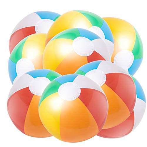 (JOCHA Inflatable Beach Ball Classic Rainbow Color Birthday Pool Party Favors Summer Water Toy Fun Play Beachball Game for Kid Boys Girls 8 to 12 Inches from Inflated to Deflated (10 PCS))