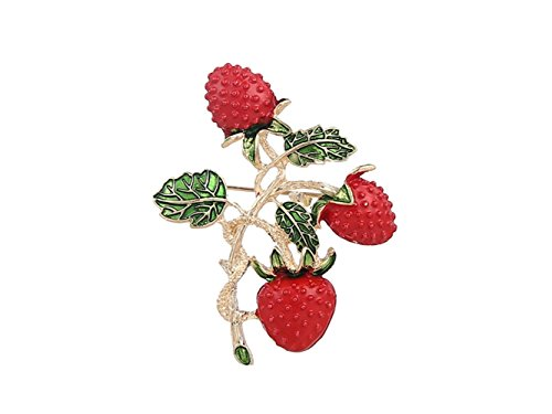 (Decoartion Fruit Pin Strawberry Corsage Wedding Bridal Brooch Clothes Accessories Clip for Ladies for Shawl (Color : Red, Size : 5.8x4.5cm))