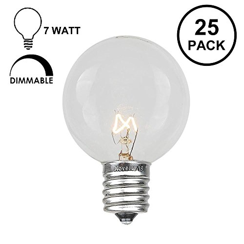 Novelty Lights 25 Pack G50 Outdoor Patio Globe Replacement Bulbs, Clear, E17/C9 Base, 7 Watt