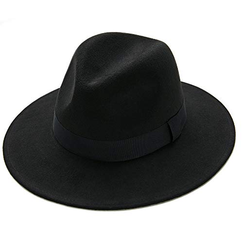 Gangster Hat,Fedora Hats Men Women Felt Trilby Caps Gatsby Themed Party Mobsters Cosplay Costume Roaring 20s Accessories (Black)