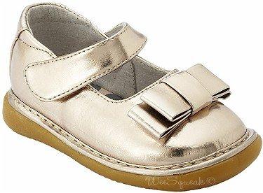 c6c5e9a73b1 Amazon.com | Wee Squeak, Girls, Triple Loop Bow Shoe, Gold Metalic ...