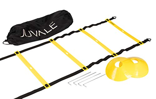 (Adjustable Speed and Agility Training Set - Includes Agility Ladder, 10 Disc Cones, 4 Steel Stakes and a Drawstring Bag - For Speed, Coordination, Footwork, Explosiveness, Sport Training, Yellow)