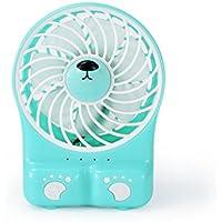 SANNYSIS Mini Desk USB Fan Portable Rechargeable LED Light Fan Air Cooler (Blue)
