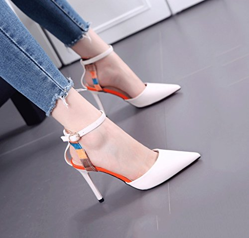 Dream Pointed Size Sandals Toe Comfortable Color White Mouth Shoes Female Sexy Shallow 38 Fashion Summer High Heels FTF5Aqxr