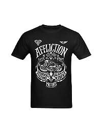 Flesiciate Men Affliction American Death Ride Motorcycle Design Size L T-Shirt