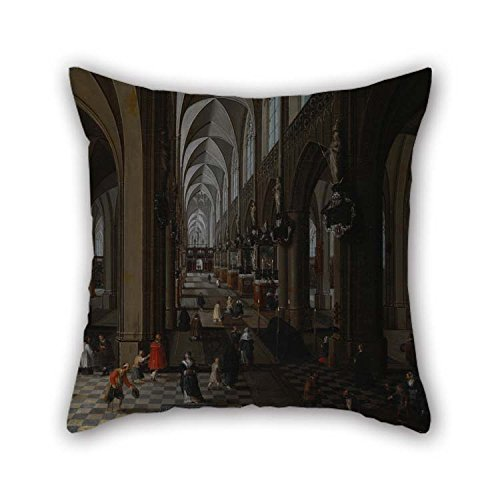 eyeselect 16 X 16 Inches / 40 by 40 cm Oil Painting Neeffs, Peeter, The Elder - Interior of Antwerp Cathedral Pillow Shams Each Side Ornament and Gift to Chair Floor Home Office Coffee House Pub Club ()