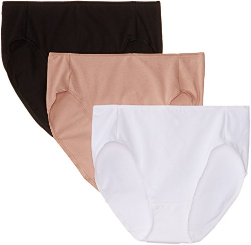 Hanes Women's 3 Pack Smooth Illusion Hi Cut Panty, Assorted, - Cotton Panty Cut Underwear High