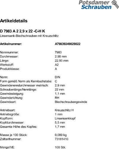 C-H 100 Edelstahl V2A Linsensenkkopf Blechschrauben DIN 7983 A2 2,9x22
